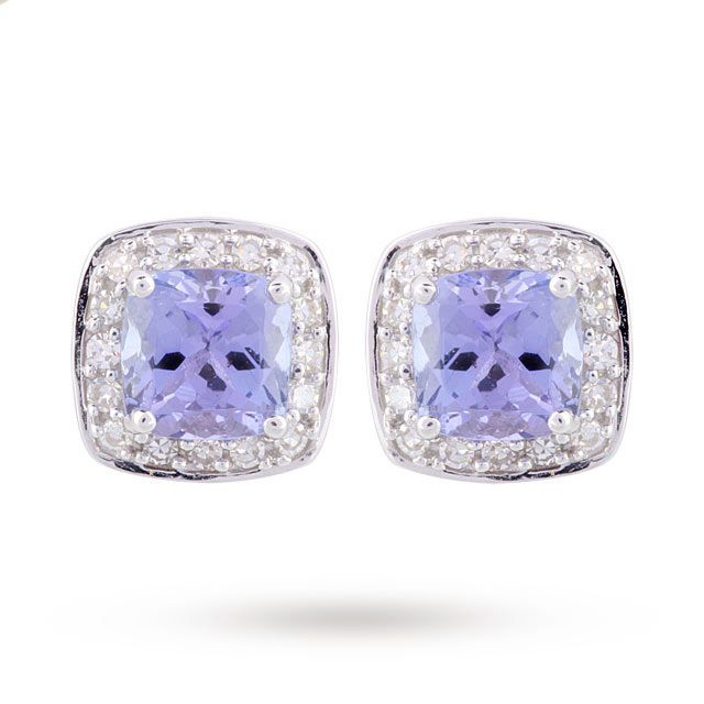 9ct White Gold Tanzanite Stud Earrings Gifts Goldsmiths