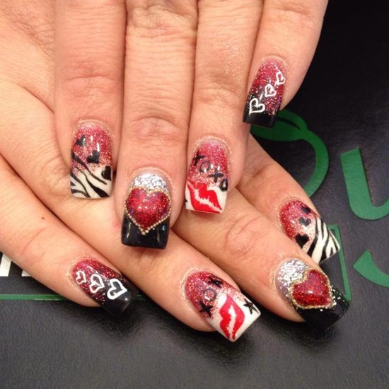 Red and black stilleto nail designs black red white glitter with red and black stilleto nail designs black red white glitter with hearts lip print and prinsesfo Choice Image
