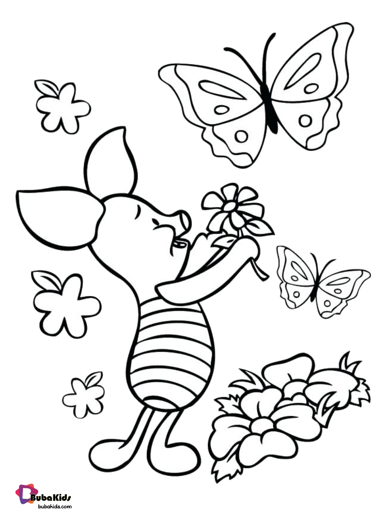 Piglet And Butterflies Printable Coloring Page Collection Of Cartoon Coloring Pages For Teenage Butterfly Coloring Page Flower Coloring Pages Coloring Pages [ 1703 x 1277 Pixel ]