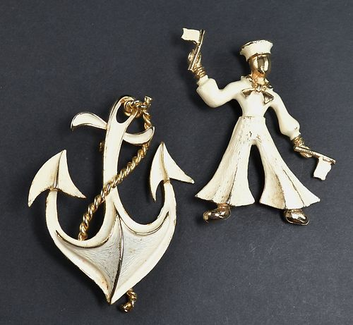 Memorial Day Vintage Patriotic Pins Gold Plated Crackerjack US Sailor & Anchor