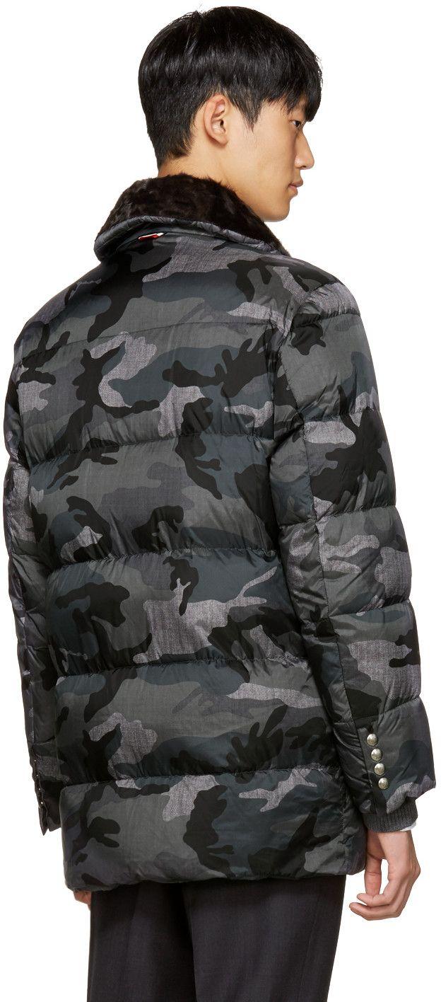1a8621e96 Moncler Gamme Bleu - Grey Quilted Down Camo Jacket   CAMO FOR MEN ...