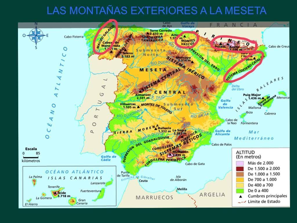 Mapa Relieve De España Para Niños.El Relieve De Espana Mapa Fisico De Espana Aula De