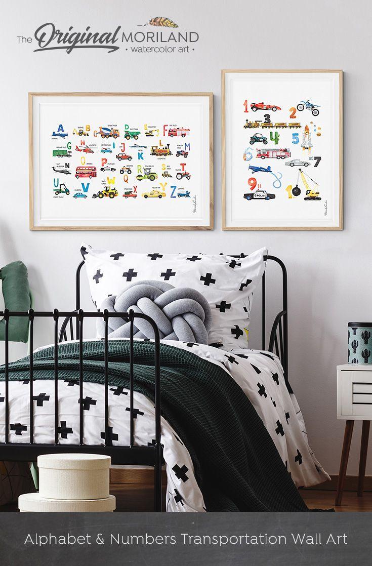 Alphabet Print, Alphabet Transportation Poster, Horizontal, ABC Poster,  Nursery Alphabet Wall Decor