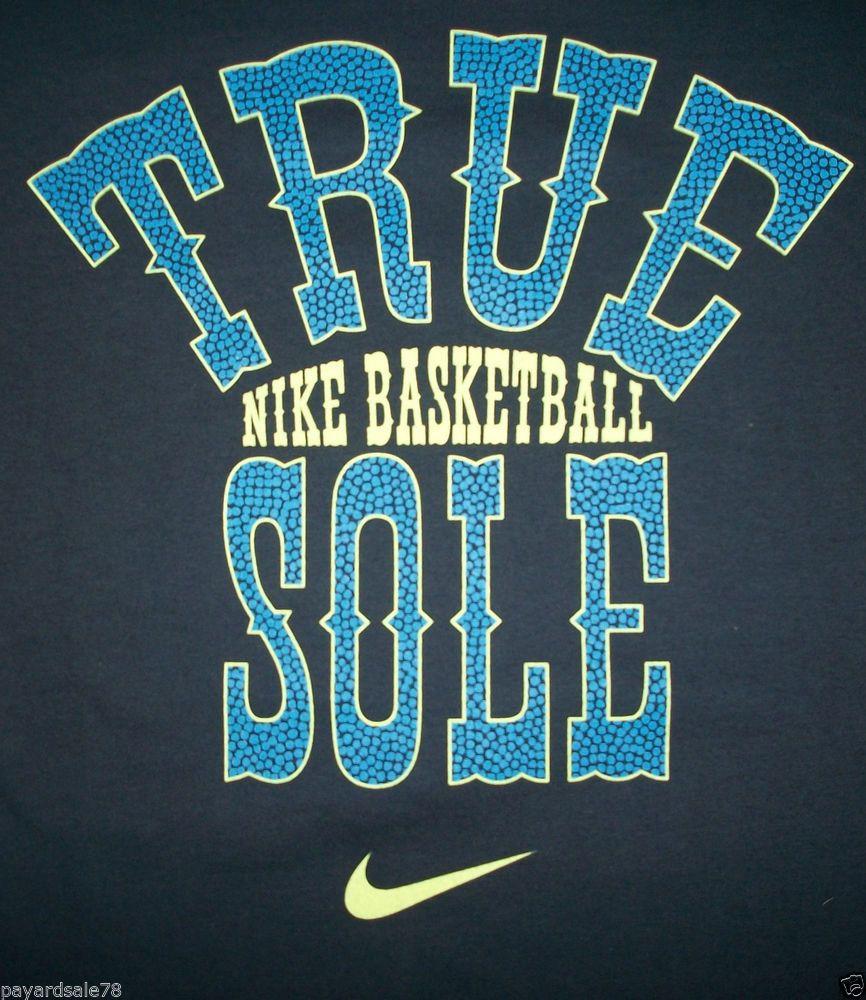 MEN'S SIZE XL NIKE TRUE SOLE BASKETBALL T-SHIRT SWOOSH LOGO NAVY BLUE  #Nike #GraphicTee