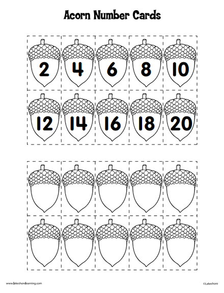 Here's a set of acorn numbers and a number line for skip