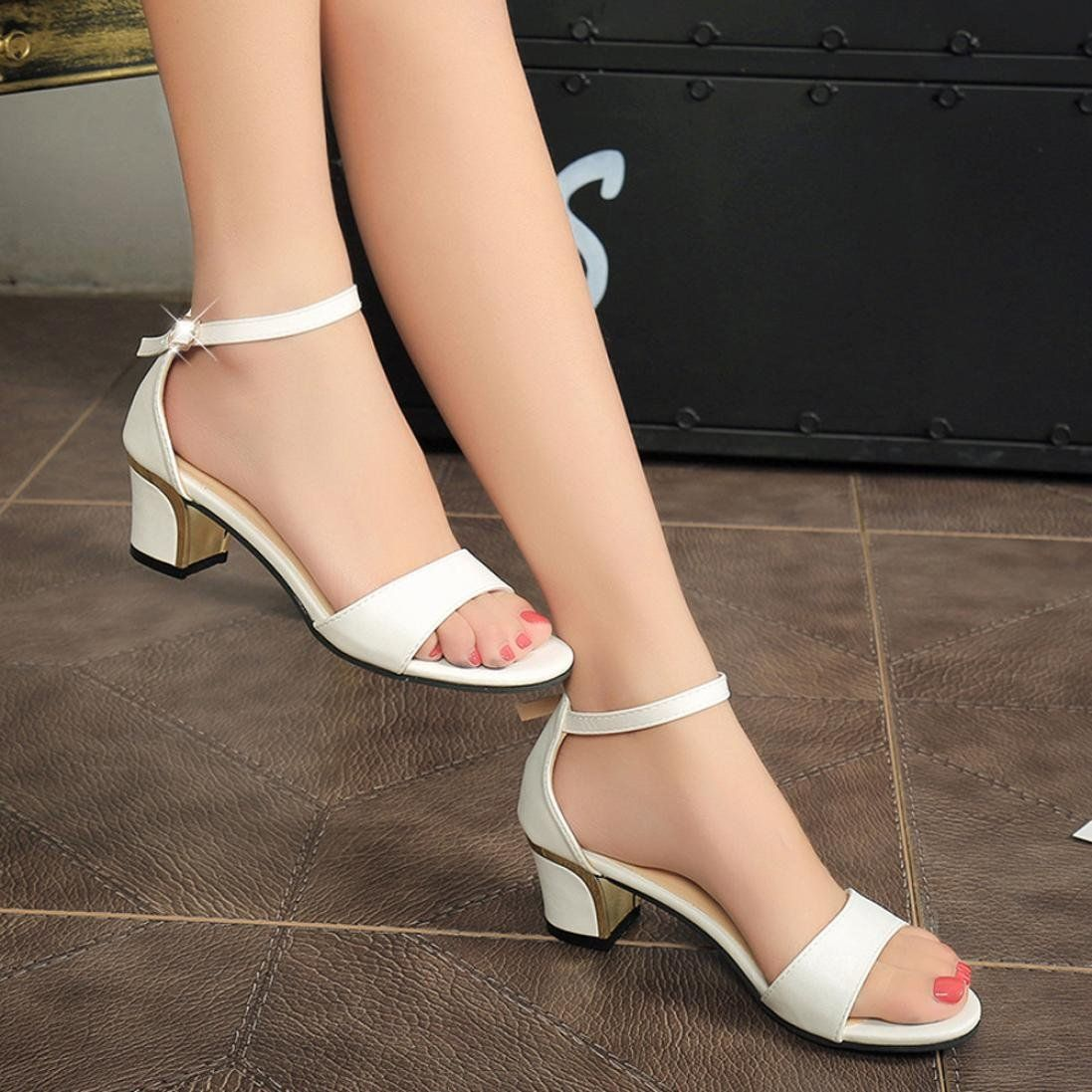 bf000ff460a Hemlock Office Lady Mid Heels Sandals Shoes Women Wedge Sandals Pointed Toe  Sandals Wedding Shoes US