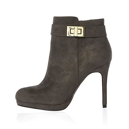 Grey turnlock heeled ankle boots