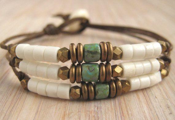 triple strand braceletturquoise tile by BareBoneBracelets on Etsy