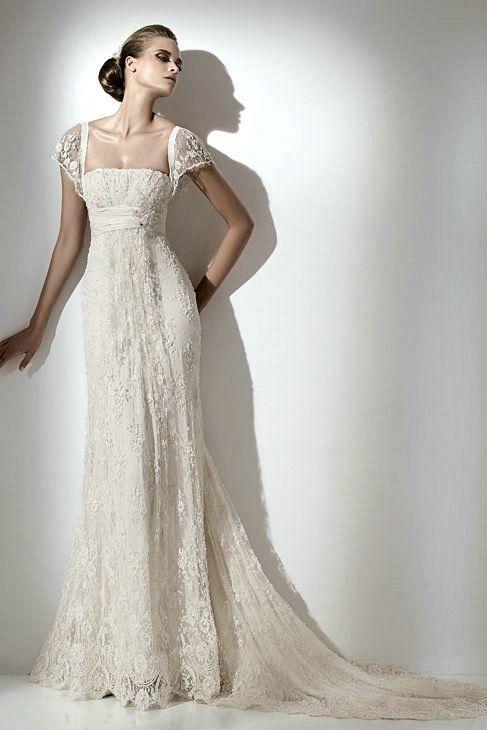 Vintage Lace Wedding Dress Cap Sleeves
