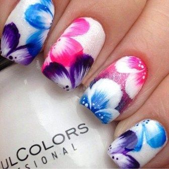 Floral Nail Arts with Polka Dots