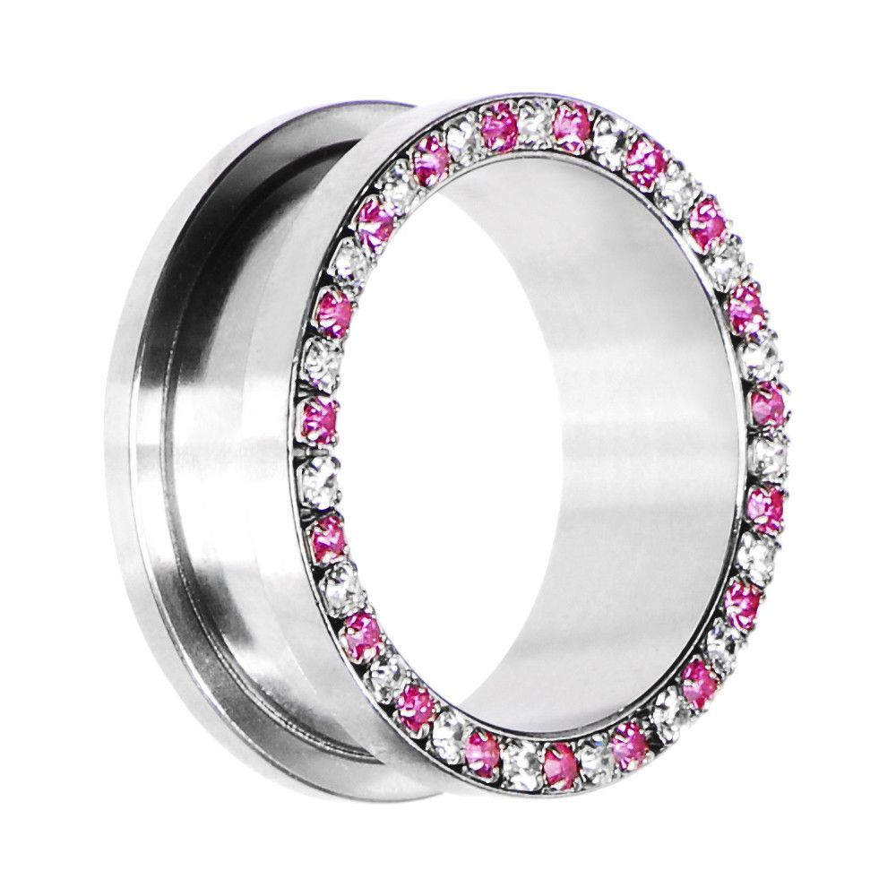 26mm Stainless Steel Pink Clear Gem Screw Fit Tunnel