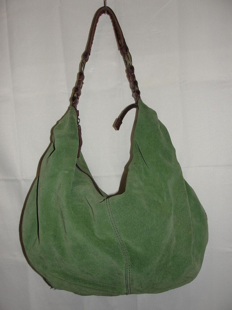 LUCKY BRAND Purse BOHO Green Suede Leather