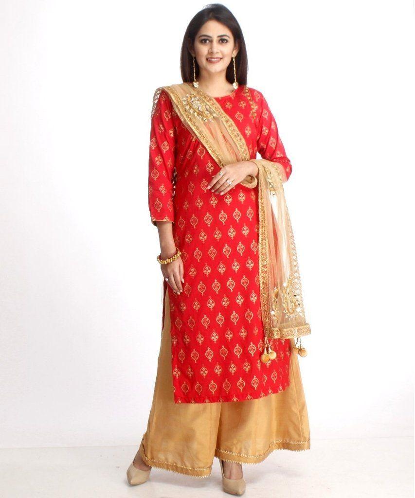 bd00c57aa1 Red Straight Kurti with Gold Kalidaar Palazzos and Mirror Paisley Work  Dupatta