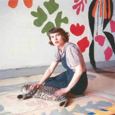 """winnet: """" Henri Matisse's studio assistant Annelies Nelck with tracing of Apollo on the floor of the Hôtel Régina, Nice, c. 1953. """""""