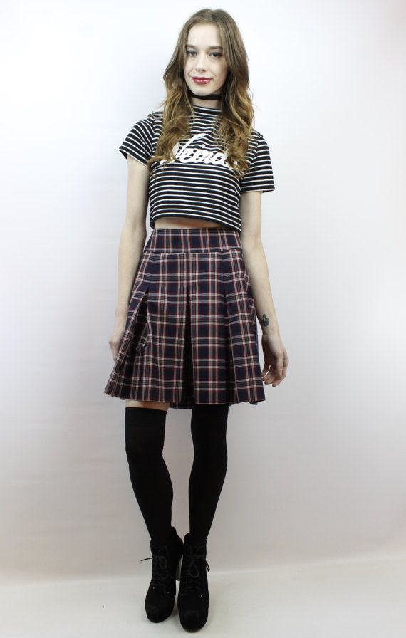 367ad5b1a2 Vintage 90s Grunge Red + Black Plaid Schoolgirl Mini Skirt, fits size XL by  shopEBV on Etsy