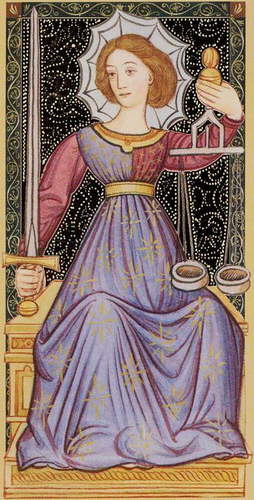 VIII - La justice - Golden Tarot of Renaissance par Giordano Berti & Jo Dworkin