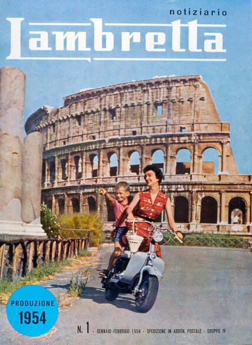 Great Lambretta advertisement. Helmut laws have changed a little since 1954.