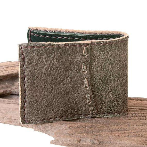 Men's Leather Wallet, Hand Sewn in Gray