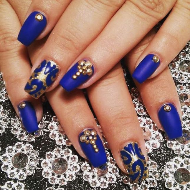 embellished gold and royal blue nail design bmodish - Experience The Glamorous Style Of Royal Blue Nail Designs Royal