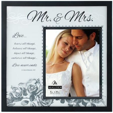 Malden 8 X 10 Mr And Mrs Frosted Glass Picture Frame Walmart Com Glass Picture Frames Wedding Picture Frames Frame