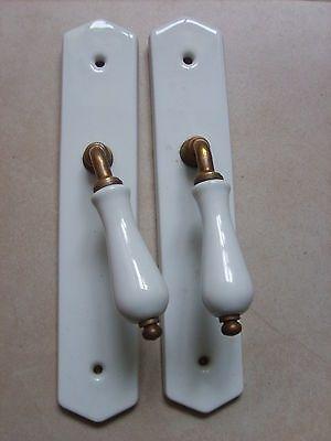 Détails sur Ancienne paire plaque de propreté de porte et poignées - poignee de porte porcelaine ancienne
