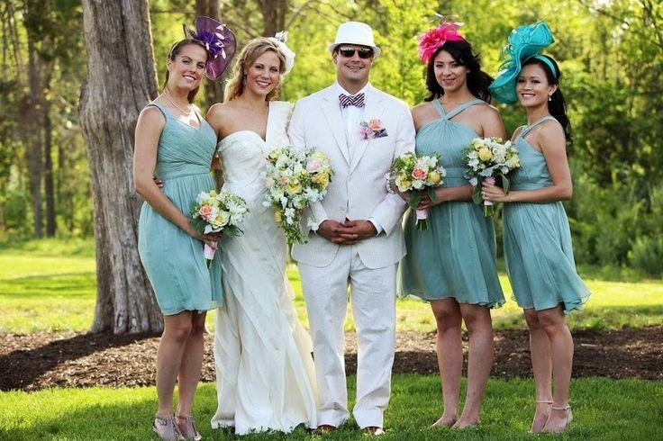 Kentucky Derby inspired wedding fascinators and light blue ...