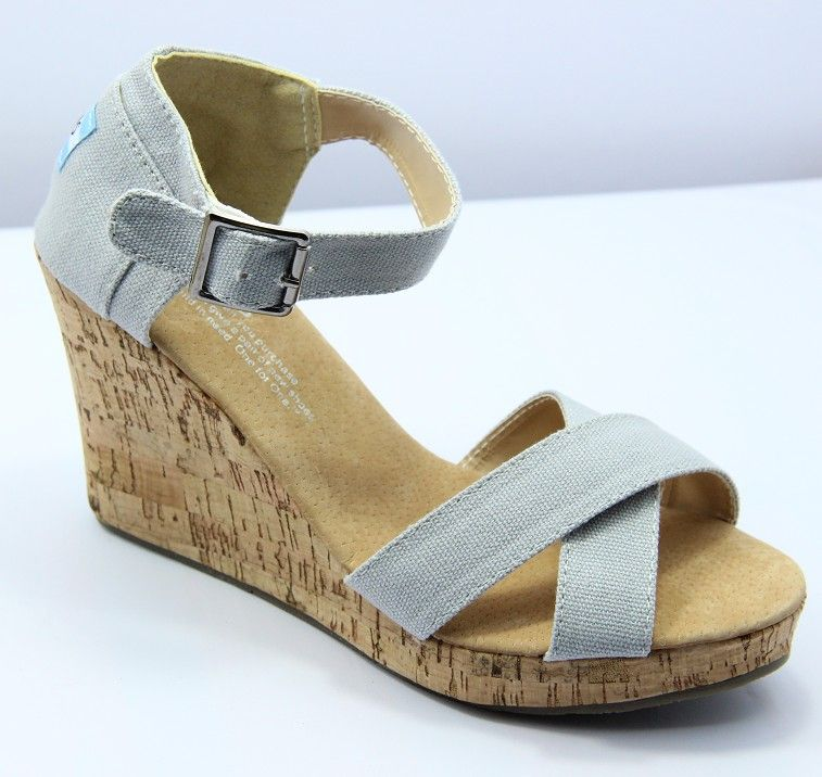 57f90aba56e Toms Women Gray Canvas Strappy Wedges