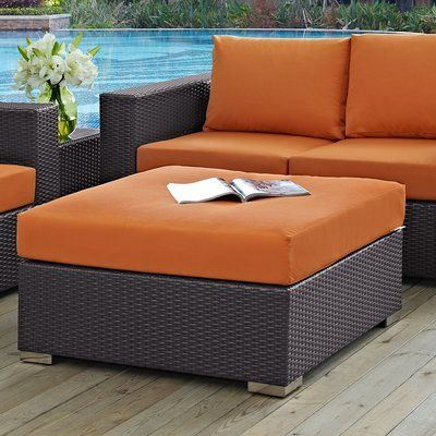Sol 72 Outdoor Brentwood Outdoor Ottoman With Cushion Ottoman