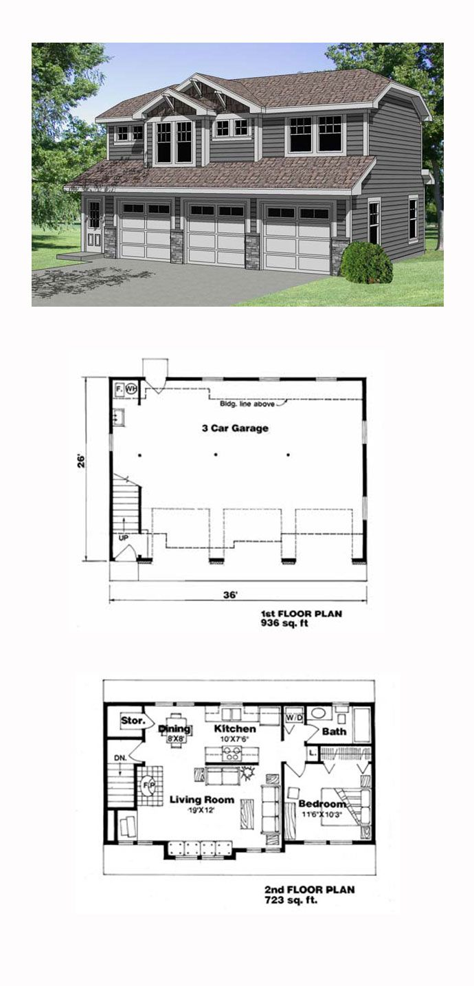 garage apartment plan 94341 total living area 723 sq 72177