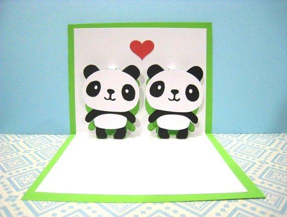 Pandas In Love Pop Up Card Etsy Pop Up Cards Panda Pop Cards