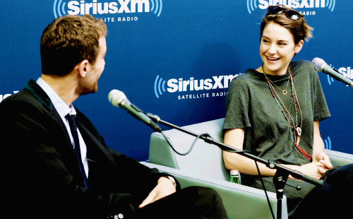 Theo James and Shailene Woodley on SiriusXM radio show