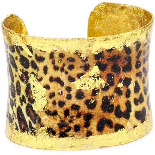"EVOCATEUR ""Humphrey's Safari"" Leopard 22K Gold Leaf Cuff Bracelet ($338) ❤ liked on Polyvore"