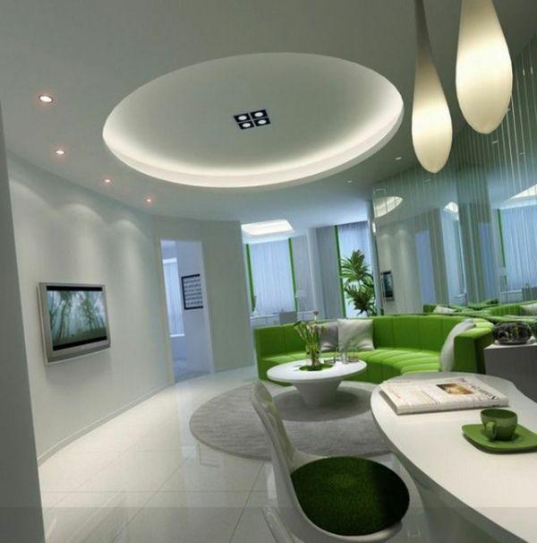 Décoration de salon moderne en vert et gris - 20 exemples