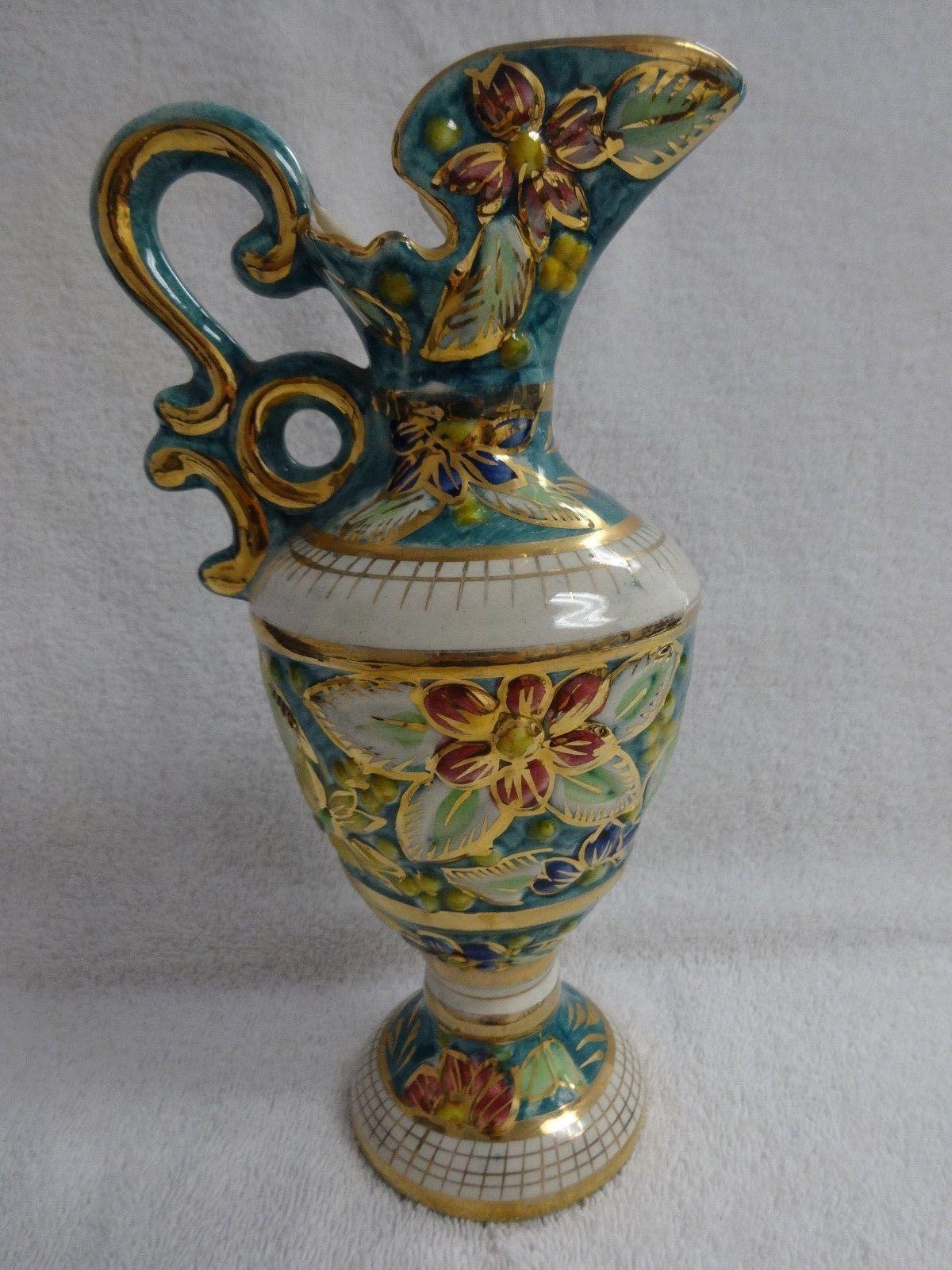 Vintage hand painted h bequet quaregnon majolica anemone vintage hand painted h bequet quaregnon majolica anemone porcelain ewer vase ebay reviewsmspy