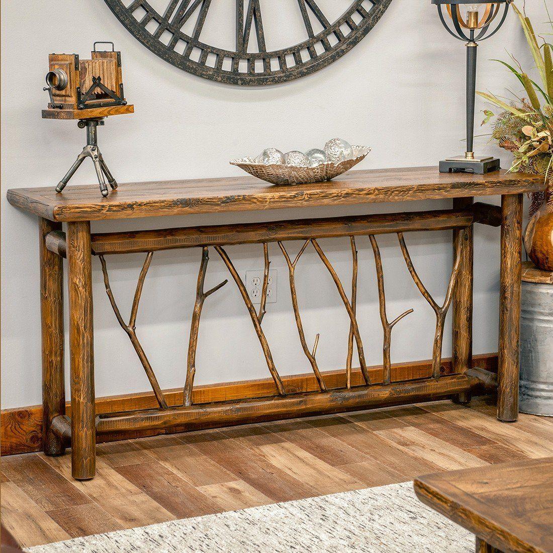 Cedar Sofa Table With Unique Twig Base Sofa Table Decor