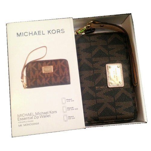 Brown Monogram Michael Kors Wristlet Essential Zip Wallet Case Clutch for  Iphone 5,4,