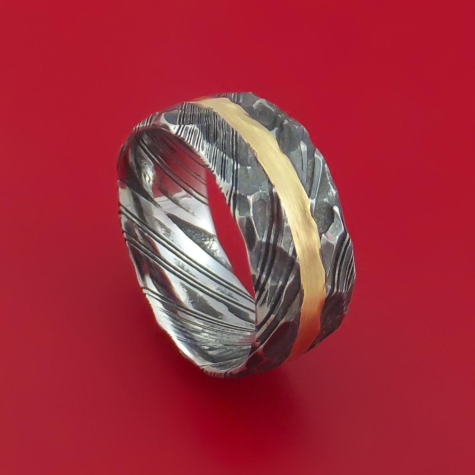 Hammered Kuro Damascus Steel Ring with 14k Yellow Gold