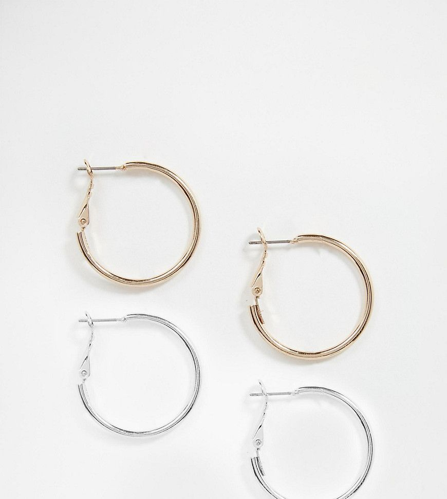 Earrings By Asos Collection Pack Of Two Silver And Gold Tone Finishes Smooth Slim Cut Hoops Latch Back Avoid Contact With Liquds Steel Hoop Size