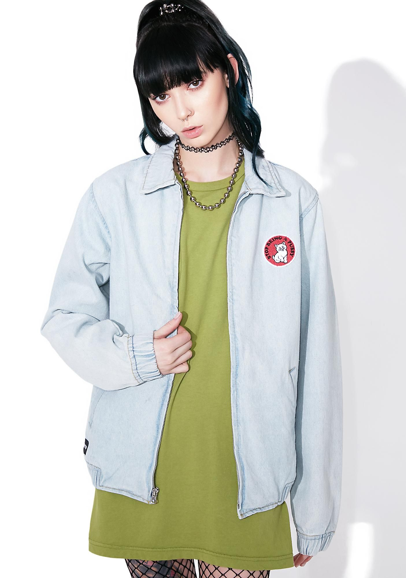 RIPNDIP Stop Being A Pussy Denim Jacket cuz yer no scaredy cat, bb. This sik denim jacket features a light cotton construction with a purrfect relaxed fit, elastic cuffs and cinched waist, pockets, embroidered patch, and zip front closure.
