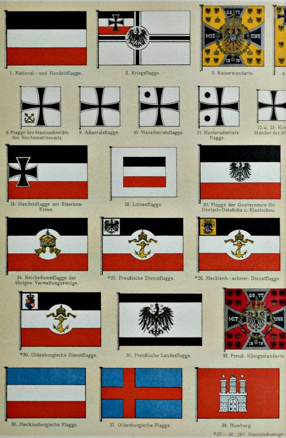 German Flags During The Early 1900 39 S History Engraving 1901 Print Old Book Plate 113 Years Lithograph 12 39 German Flag German History Germany Facts