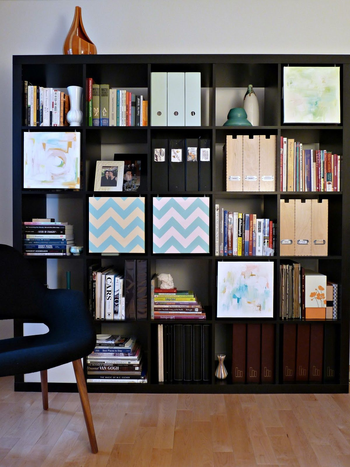 Hanging Painted Canvases To Hide Shelf Clutter Ive Got Wider Shelves