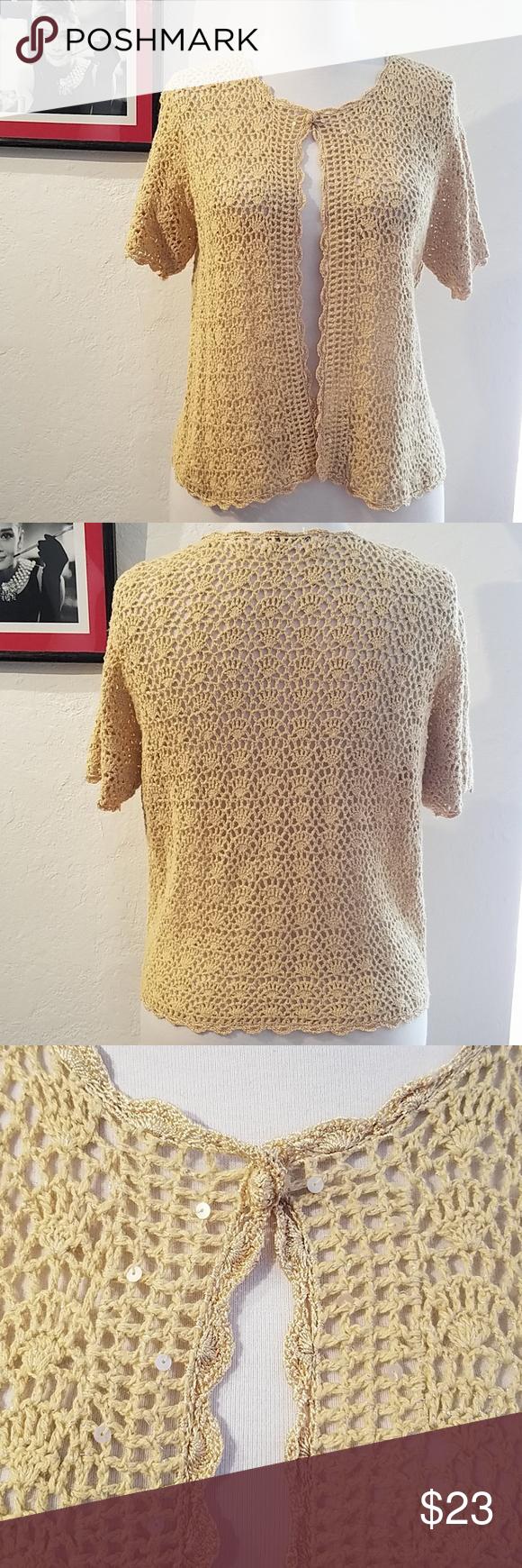 16dcd51ede Dress Barn Gold Crochet Short Sleeve Sweater Dress Barn Gold Crochet Short  Sleeve Sweater with sparkly