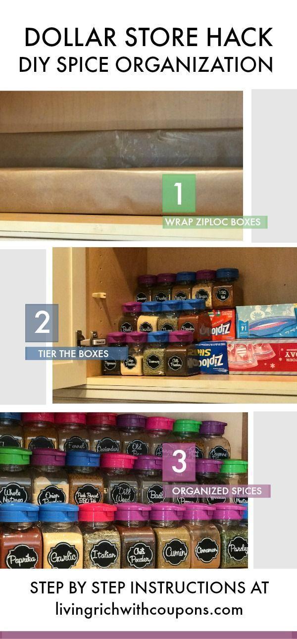 Organize Spice Cabinet - DIY Spice Rack - Dollar Tree Spice Rack - #cabinetorganization