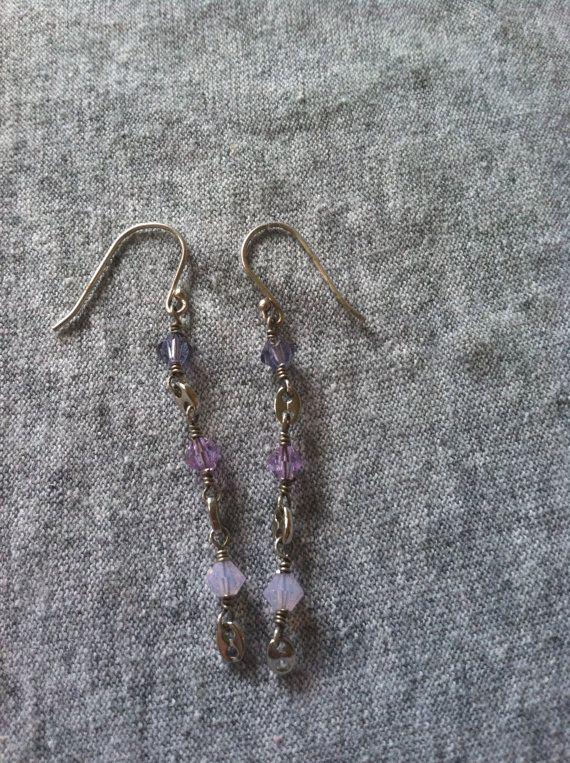 Purple crystal earrings by TESDesigns on Etsy, $18.50
