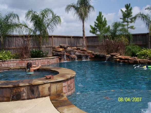 Tropical Backyard Tropical Backyard Backyard Saltwater Pool