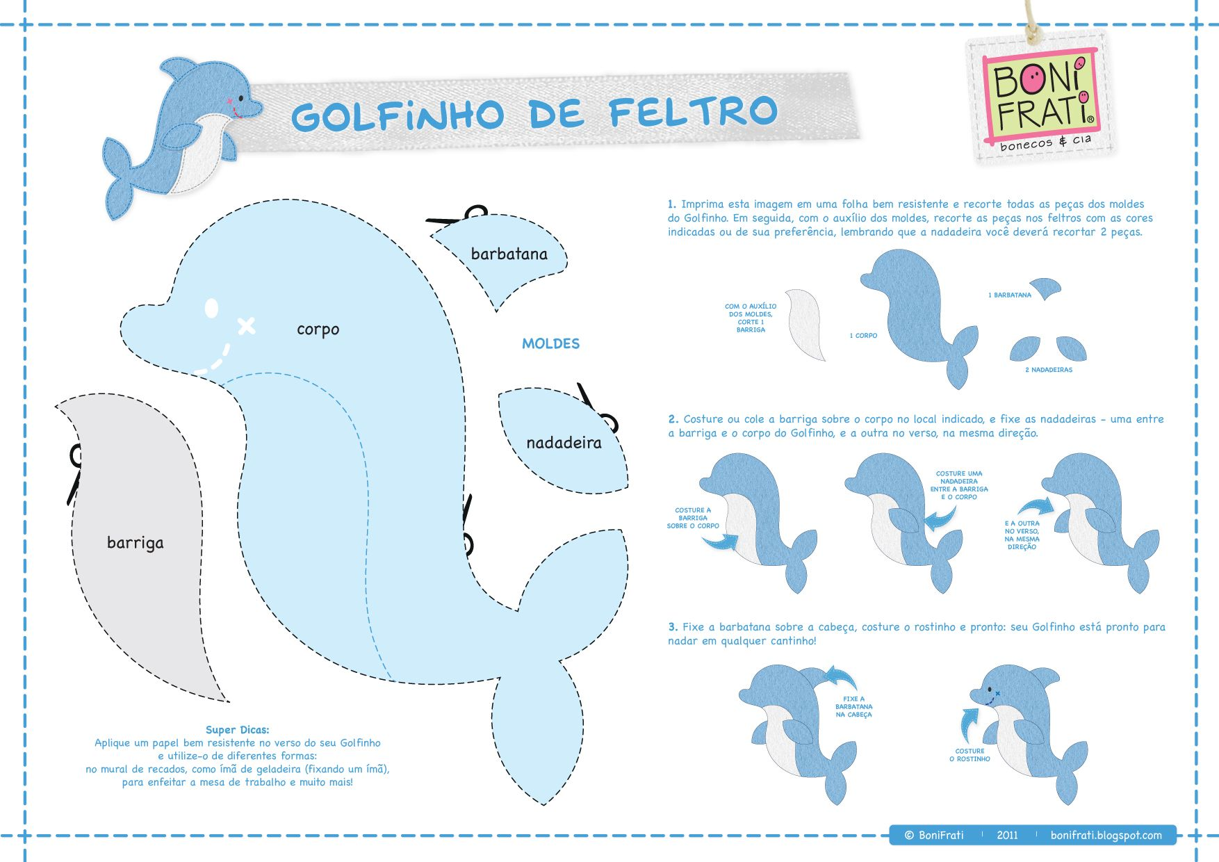 Blog BoniFrati: Especial Terra e Mar: O Golfinho (com molde) | fundo ...