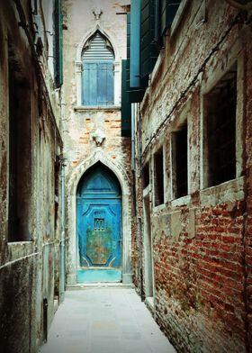 'Teal Blue Door in Venice' Metal Poster Print - Br