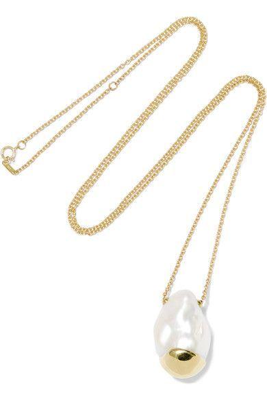 Mizuki 14-karat Gold Pearl Necklace VzCyPp