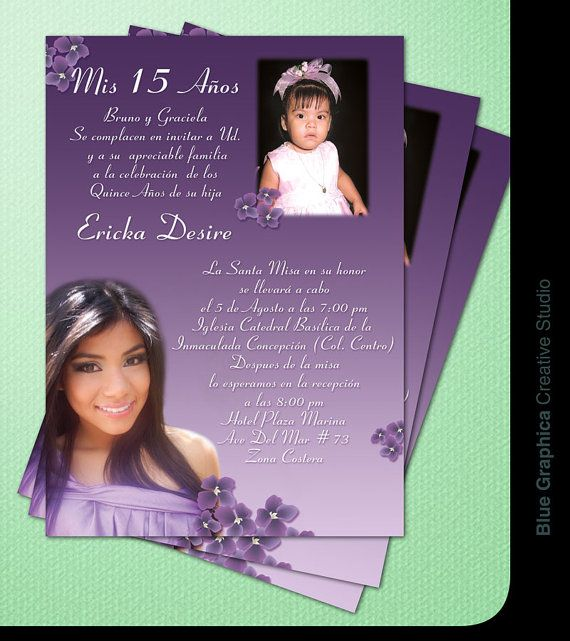 custom photo quinceañera invitation two photos traditional