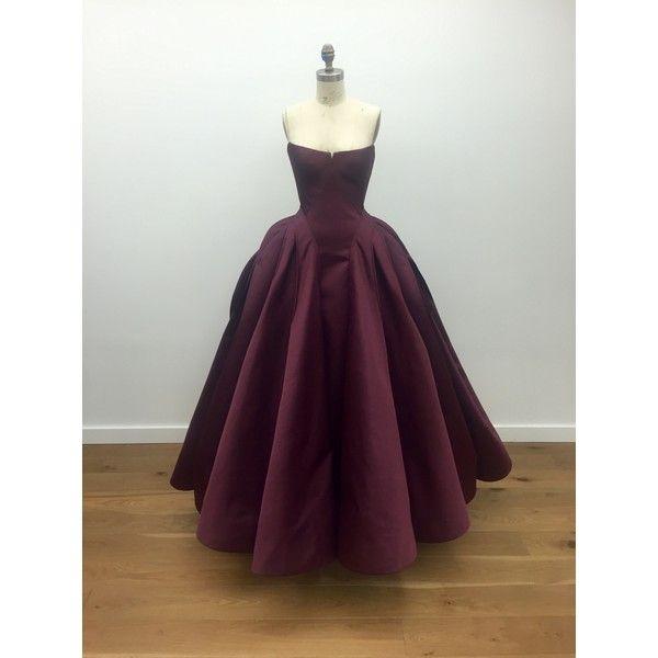 Zac Posen Duchess Satin Architectural Bustier Ball Gown ($11,990 ...
